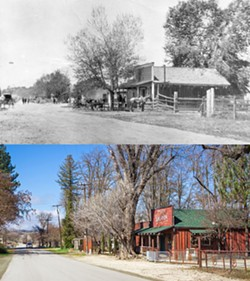 THEN AND NOW Aside from the cottonwood tree in front, planted as a sapling in 1858, not much has changed at the Pozo Saloon between these 1870s-era and 2018 photos. - PHOTOS: TOP, COURTESY OF THE SANTA MARGARITA HISTORICAL SOCIETY; BOTTOM, BY JAYSON MELLOM