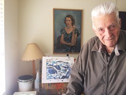 PAINT ON At 94 years old, artist John Barnard still paints nearly every day at his room in a retirement home in Atascadero. - PHOTO BY RYAH COOLEY