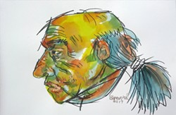 MAN DO The watercolor piece Grizzled Hippie was inspired by artist John Barnard's disdain for older men sporting ponytails. - IMAGE COURTESY OF THE SLO MUSEUM OF ART