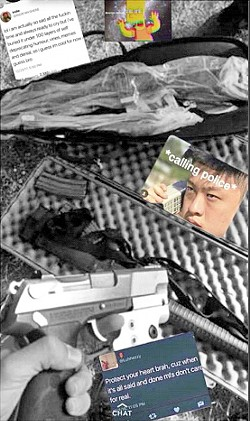 """GUN SCARE Two teenagers in Paso Robles were arrested on March 22 after posting this Snapchat image depicting a handgun and rifle. Two days prior, several schools """"sheltered in place"""" as police investigated another Snapchat post about hidden guns at Paso Robles High School. - IMAGE COURTESY OF THE PASO ROBLES POLICE DEPARTMENT"""