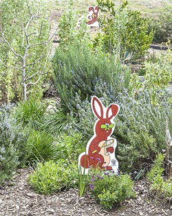 IN THE GARDEN Pollination and Pick-A-Flower Bunnies are just a few of the new cartoon signs at the SLO Botanical Garden designed by Leigh Rubin. - PHOTO COURTESY OF SLO BOTANICAL GARDEN