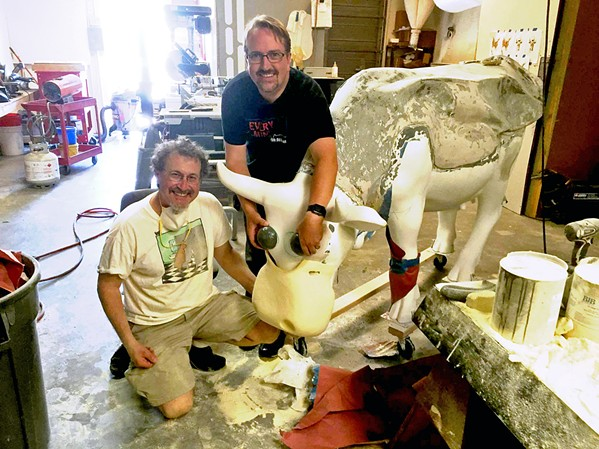 BEHIND THE SCENES In the pilot episode of their show, Drawing Inspiration, Leigh Rubin (left) and Ryan Johnson (right) talk about the process of creating Adventure Cow together for the CowParade in SLO a few years back. - PHOTO COURTESY OF LEIGH RUBIN