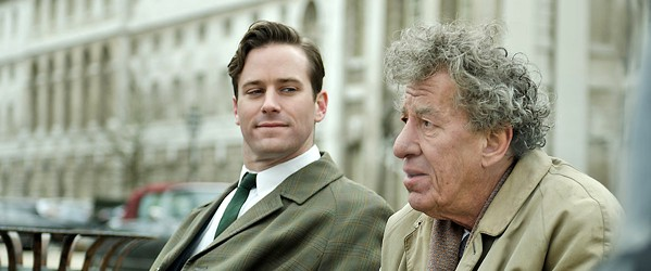 A MOMENT IN TIME James Lord (Armie Hammer, left) sits for a painting by his artist friend Alberto Giacometti (Geoffrey Rush) in Final Portrait. - PHOTO COURTESY OF SONY PICTURES CLASSICS