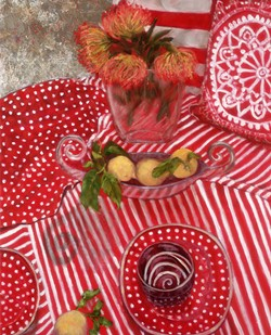 SERIES REGULAR The curved, silver serving bowl in Red, White, and Yellow in Motion is a particular favorite prop of artist Patti Robbins. The bowl finds its way into her still-life paintings time and time again. - IMAGE COURTESY OF PATTI ROBBINS