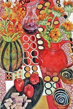 JUST RIGHT Arroyo Grande artist Patti Robbins never knows when an object might inspire her, so she keeps a table in her studio filled with things like extra glassware and wine corks (which made an appearance here in Still Life with Wine and Flowers) and a suitcase stuffed with bright, intricately patterned fabrics. - IMAGE COURTESY OF PATTI ROBBINS