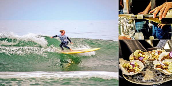 FROTHY FRIENDS Wine, Waves, and Beyond Returns to the Central Coast this May 4 to 6 with a tsunami of good eats and gnarly beachside experiences. - PHOTO COURTESY OF WINE, WAVES, AND BEYOND