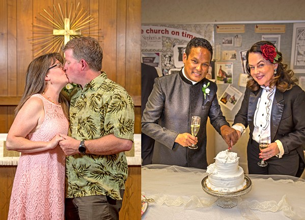 LOVE TO LOVE YOU Last year Rev. Ian Delinger (pictured left in photo right), with the help of SLO Mayor Heidi Harmon (pictured right in photo right), helped couples to renew their marriage vows at St. Stephen's Episcopal Church. The event is coming back this year, with a royal twist as Prince Harry marries American actress Meghan Markle in merry old England. After the vow renewals, couples will enjoy tea, cake, and British cars while watching the royal wedding. - PHOTO COURTESY OF ST. STEPHEN'S EPISCOPAL CHURCH