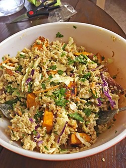 MIXING IT Here's the finished product: a giant bowl of quinoa, roasted sweet potatoes, and other veggies. Perfect for a quick lunch at work. - PHOTO BY PETER JOHNSON