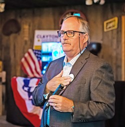 'WE GAVE IT OUR BEST' Local private investigator Greg Clayton thanks supporters at Holland Ranch June 5. Clayton challenged SLO County Sheriff Ian Parkinson, but preliminary voting totals show he was unable to unseat the incumbent sheriff. - PHOTO BY JAYSON MELLOM
