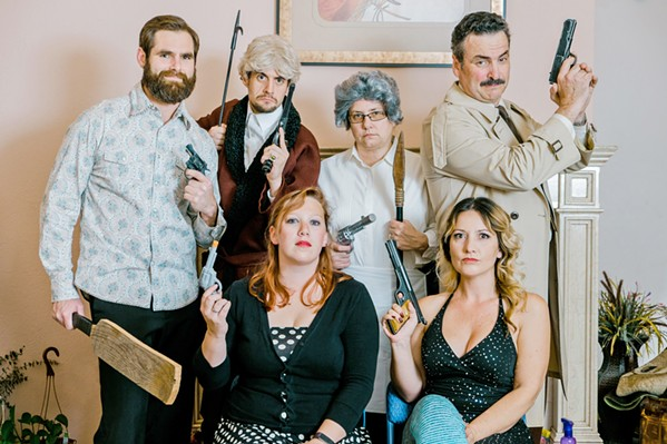 KILLER CAST David Rosenblatt, Greg DeMartini, Lisa Pekarek, Ed Cardoza, Sarah Smith, and Deirdre Loy (left to right, top to bottom) star in By the Sea Productions' The Murder Room. - PHOTO COURTESY OF BY THE SEA PRODUCTIONS/ IAIN MACADAM