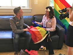 NO PLACE FOR HATE? The burning of a Gay Pride flag displayed outside SLO Mayor Heidi Harmon's home was one of several hate crimes reported in the county in 2017. - PHOTO COURTESY OF ELLEN STURTZ