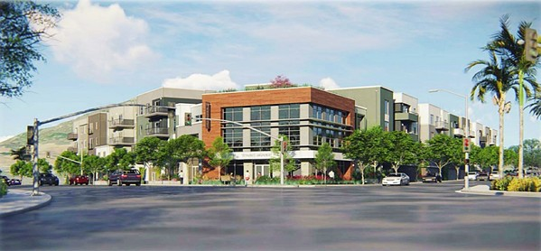 APPROVED Despite resistance from residents and officials, the SLO Planning Commission voted to approve a four-story mixed-use project on Foothill Boulevard. It will next go to the City Council for a final green light. - RENDERING COURTESY OF THE CITY OF SLO