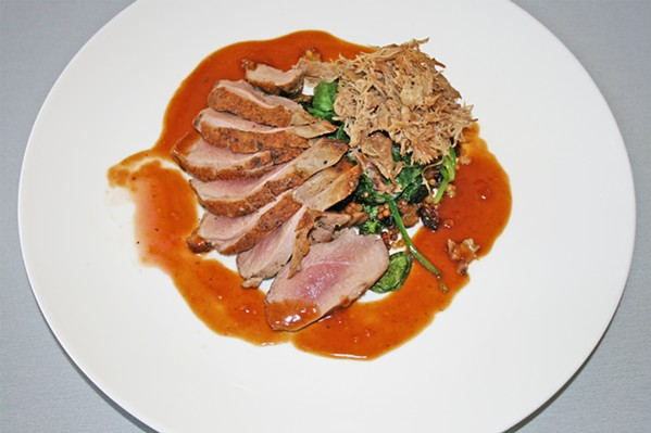 DUCK DUCK OOH You'll want to drag each piece of succulent pan rendered duck breast through its own cardamom cinnamon demi-glace juices. - PHOTO BY HAYLEY THOMAS CAIN