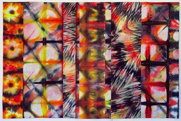 GALACTCIC Paso Robles artist Jeanne Aird takes her inspiration from sources like nature, colors, and patterns when creating quilt art pieces like Wondering About Mars. - IMAGE COURTESY OF JEANNE AIRD