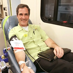 LASTING LEGACY Doc Burnstein's founder/owner Greg Steinberger gives back to the community by giving blood. The company has continued to partner with United Blood Drives and incentivizes the practice by donating a pint of ice cream for every participant who donates a pint of blood. - PHOTO COURTESY OF DOC BURNSTEIN'S