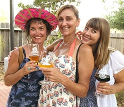 BICYCLE BEAUTIES (Left to right) Rebecca Kallal, Natalia Hogue Wellman, and Cyndi Hafley enjoy some craft beer and bicycle camaraderie at Hot August Bikes, a fundraising bike show for Bike SLO County on Aug. 11 at Central Coast Brewing. - PHOTOS BY GLEN STARKEY