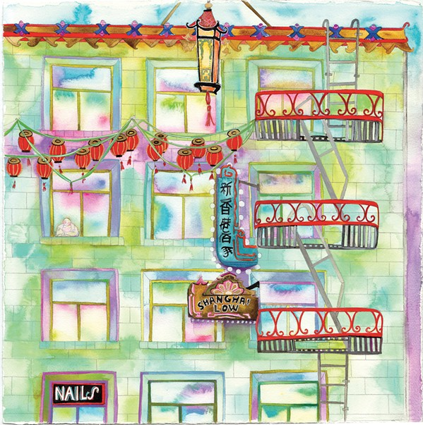 VIEW FROM ABOVE SLO-based artist Tracy Taylor's series, You Can't Escape Beauty, features watercolor pieces like Chinatown that depict the views from various fire escapes. Taylor's work will be on display at The 4 Cats Café and Gallery starting Sept. 7. - IMAGE COURTESY OF TRACY TAYLOR