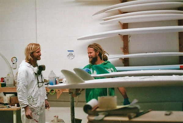 SURFING'S IN THE FAMILY Chandler (left) and Cory (right) Richmond learned how to build surfboards from their father. Now, they have their own surfboard business in Morro Bay. - PHOTO COURTESY OF NAUTILUS SURF SHOP