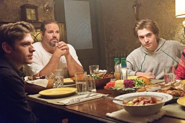 EXPECTATION (Left to right) Son Ziggy (Bubba Weiler), husband Louie (David Denman), and other son Gabe (Austin Abrams) have come to expect Agnes to wait on them hand and foot. - PHOTO COURTESY OF BIG BEACH FILMS