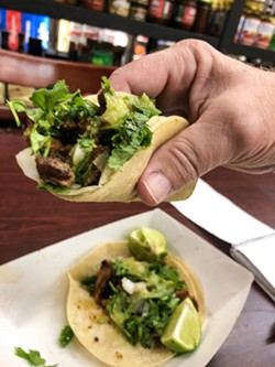 ABUELA RODRIGUEZ's SECRET RECIPE Sidewalk Market's al pastor street tacos, made by Gregorio and Alejandro Rodriguez, are the bomb, and they're only $2 each! - PHOTO BY GLEN STARKEY