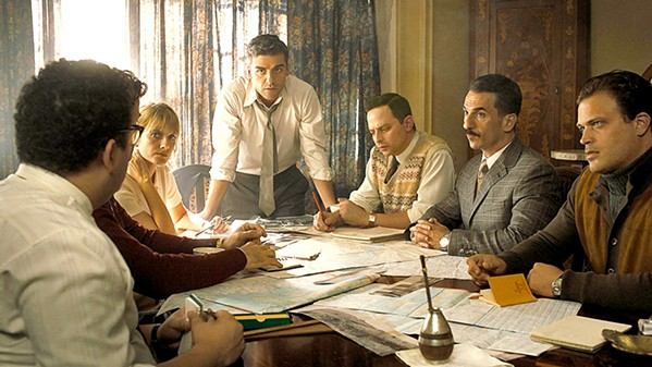 ON THE HUNT A team of Israeli operatives, led by Peter Malkin (Oscar Isaac, center), works on a plan to bring Nazi SS Officer Adolph Eichmann to justice. - PHOTO COURTESY OF METRO-GOLDWYN-MAYER