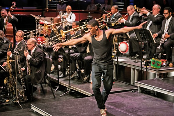 ALL THAT JAZZ Wynton Marsalis conducts the Jazz at Lincoln Center Orchestra at the SLOPAC on Sept. 27, complete with jookin' (street dancing) and tap dancing. - PHOTO COURTESY OF THE JAZZ AT LINCOLN CENTER ORCHESTRA