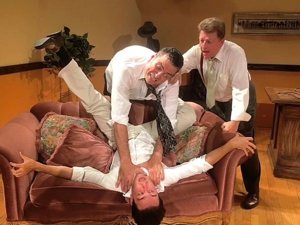 DEADLINE Director Victor Fleming (Ed Cardoza) strangles writer Ben Hecht (Tony Costa) while film producer David O. Selznick (Chad Stevens) interrupts the two during a five-day rewrite of the screenplay of the classic film Gone With The Wind. - IMAGE COURTESY OF WINE COUNTRY THEATRE