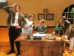 WRITER'S BLOCK Ed Cardoza, Jo Jackson, Chad Stevens, and Tony Costa try to survive writing the Gone with the Wind screenplay in Wine Country Theatre's comedy, Moonlight and Magnolias. - IMAGE COURTESY OF WINE COUNTRY THEATRE