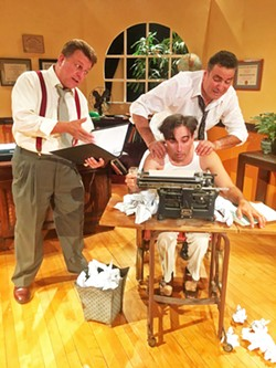 WORD PERFECT In 1939, the Golden Age of Hollywood, producer David O. Selznick (Chad Stevens, left) halts filming on Gone With The Wind in order to completely rewrite the script with writer Ben Hecht (Tony Costa) and director Victor Fleming (Ed Cardoza). - IMAGE COURTESY OF WINE COUNTRY THEATRE