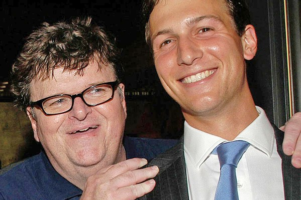 KEEP YOUR ENEMIES CLOSER Before Trump's presidency, Michael Moore found a strange ally in Jared Kushner, the president's son-in-law. - PHOTO COURTESY OF DOG EAT DOG FILMS