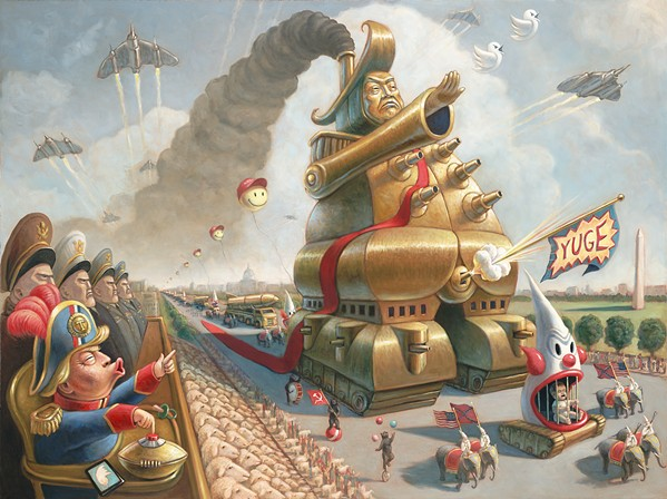 AMERICAN PRIDE Mark Bryan's painting The Shit Show envisions what Trump's version of an American military parade would include. - IMAGE COURTESY OF MARK BRYAN