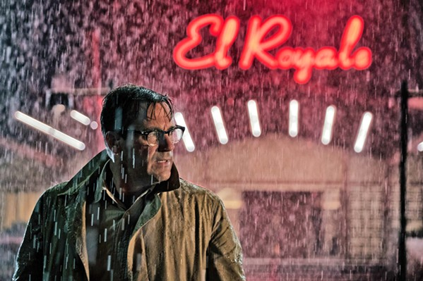 "HE'S GOT A SECRET Jon Hamm stars as vacuum cleaner salesman Seymour ""Laramie"" Sullivan, one of several secret-keeping strangers who converge at a seedy hotel, in Bad Times at the El Royale. - PHOTO COURTESY OF TWENTIETH CENTURY FOX"