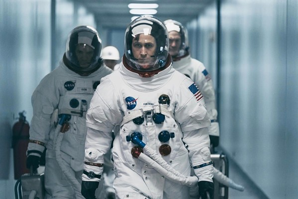 ONE GIANT LEAP Ryan Gosling (center) stars as Neil Armstrong, the first person to step foot on the Moon, in the historical drama and biopic First Man. - PHOTO COURTESY OF AMBLIN ENTERTAINMENT AND DREAMWORKS