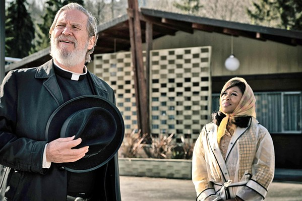 BAD TIMING Jeff Bridges stars as fake priest Daniel Flynn and Cynthia Erivo as nightclub singer Darlene Sweet, in Bad Times at the El Royale. The two cross paths as trouble bubbles up around them. - PHOTOS COURTESY OF TWENTIETH CENTURY FOX