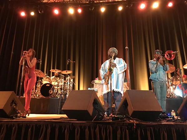 JAZZ LEGENDS Tenor saxophonist Kamasi Washington (center) and his seven-piece band, which included Patrice Quinn, Tony Austin, Ryan Porter, and Ronald Bruner Jr. (left to right), wowed the Fremont Theater on Oct. 20. - PHOTO BY PETER JOHNSON