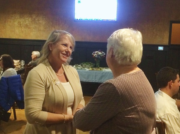 NEW MAYOR IN AG Councilmember Caren Ray greets a supporter at her election night party. Ray was narrowly ahead of two-time incumbent Jim Hill for the position of Arroyo Grande mayor, according to unofficial voting totals. - PHOTO BY CHRIS MCGUINNESS