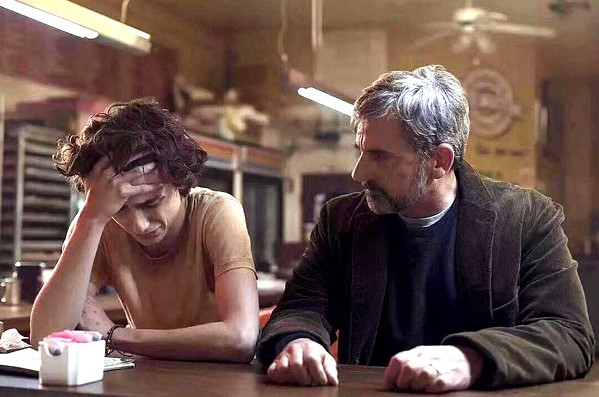 FAMILY Nic Sheff (Timothée Chalamet, left) and his dad David (Steve Carell) deal with Nic's addiction, in the biopic Beautiful Boy. - PHOTO COURTESY OF AMAZON STUDIOS