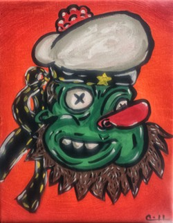FREE FORM Learning and practicing traditional painting techniques is fun, but sometimes you just have to let lose and paint whatever weird thing comes into your head ... like this weird green sailor dude. - IMAGE BY CHRIS MCGUINNESS