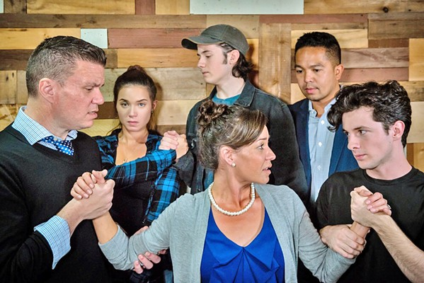 WE STILL GO ON As Diana (Veronica Suber, center) grapples with bipolar disorder, everyone in her life—her husband, Dan (Gary Borjan); daughter Natalie (Julia Seibert) and her boyfriend, Henry (Phineas Peters); therapist Dr. Madden (Ritchie Bermudez); and the memory of her deceased son, Gabe (Elliot Peters)—navigates the illness in their own way. - PHOTO COURTESY OF WINE COUNTRY THEATRE