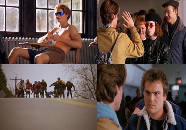 'GNARLY DUDE' If you thought there was a more '90s movie than Airborne, you'd be wrong. Shane McDermott (left) is a Cali surfer bro here to shake things up. Seth Green (right) has some of the worst hair I've ever seen. Jack Black (bottom right) is a bully who likes sleep and Nintendo. On the bottom left is an image from the final race that lasts 20 minutes and serves no purpose. - PHOTO COURTESY OF WARNER BROS.