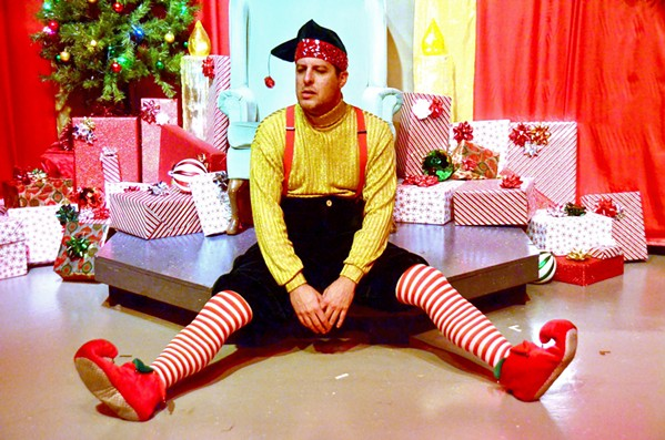 ELF DOWN SLO Repertory Theatre's Kevin Harris stars as Crumpet, a man moonlighting as an elf in Santa's village at Macy's. - PHOTOS COURTESY OF THE SLO REPERTORY THEATRE