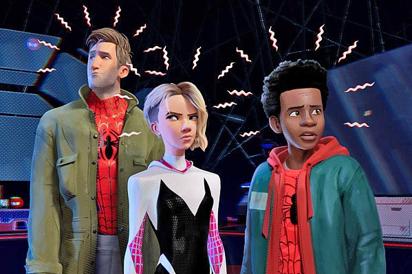SPIDEY SENSES In this new animated adventure, Spider-Men and a Spider-Woman from different realities team-up to stop a common foe, in Spider-Man: Into the Spider-Verse. - PHOTO COURTESY OF MARVEL AND COLUMBIA PICTURES CORP.