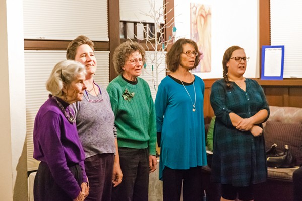 COMFORT AND JOY The Threshold Singers write and perform a cappella songs to bring some measure of comfort and cheer to people grieving, sick, or nearing death. - PHOTO BY JAYSON MELLOM