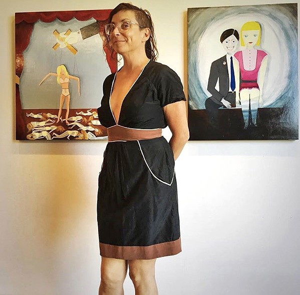 STATUS QUO SLO artist Missy Reitner-Cameron's oil painting on wood panels, So It Goes (left), speaks to the way that women and their bodies are treated in the U.S. - PHOTO COURTESY OF MISSY REITNER-CAMERON