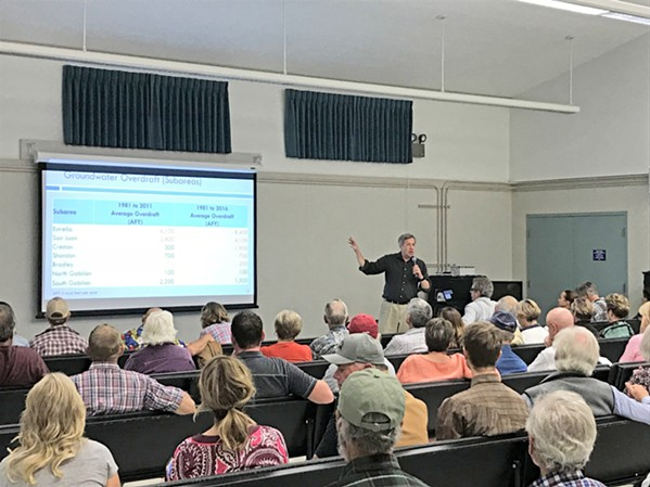 SUSTAINABILITY Hydrologist Derrik Williams briefs a roomful of Creston landowners about the region's groundwater conditions in October. Stakeholders across the Paso Robles Groundwater Basin began discussing a 20-year sustainability plan for the aquifer in 2018. - FILE PHOTO BY PETER JOHNSON
