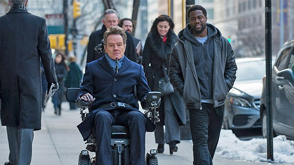 BRIGHT-SIDER Phillip (Bryan Cranston, center), a wealthy quadriplegic with a bad attitude, hires Dell (Kevin Hart, right), a man with a criminal record who helps him find the joy in life, in The Upside. - PHOTO COURTESY OF LANTERN ENTERTAINMENT