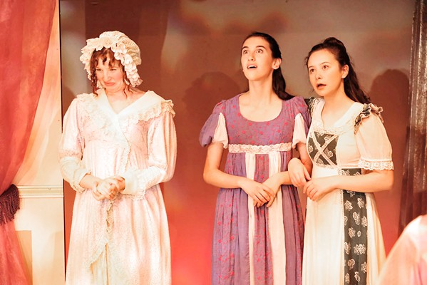 FAMILY Elizabeth's overbearing mother (Eliana Nunley) and her two ridiculous younger sisters, Lydia (Sophia Lea) and Kitty (Ella Gomez), provide comic relief but also make it substantially harder for Elizabeth and her sister, Jane, to find proper husbands. - PHOTOS COURTESY OF SLO REPERTORY THEATRE