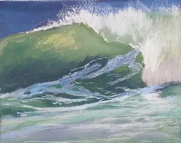 NORTH COAST Atascadero artist Denise Schryver was inspired by the wild waves at the dog beach between Morro Bay and Cayucos in December when she painted the piece Sundance Pastel. - IMAGE COURTESY OF DENISE SCHRYVER