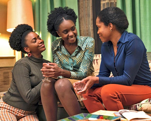 SUPPORT SYSTEM Tish's (KiKi Lane, center) sister, Ernestine (Tayonah Parris, left), and mother, Sharon (Regina King, right), give her what she needs to carry on in the face of injustice. - PHOTOS COURTESY OF ANNAPURNA PICTURES