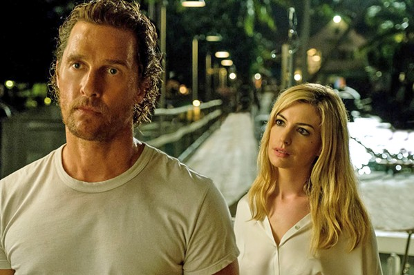 FEMME FATALE? When his ex-wife Karen (Anne Hathaway) shows up with a desperate story about her abusive new husband, fishing boat captain Baker Dill (Matthew McConaughey) must decide whether to help, in Serenity. - PHOTO COURTESY OF GLOBAL ROAD ENTERTAINMENT